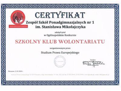 Certyfikat dla Szkolnego Klubu Wolontariatu