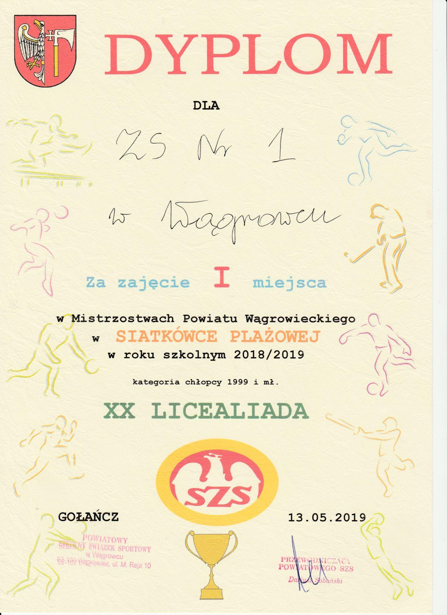 dyplom piłka plażowa chłopcy 2019