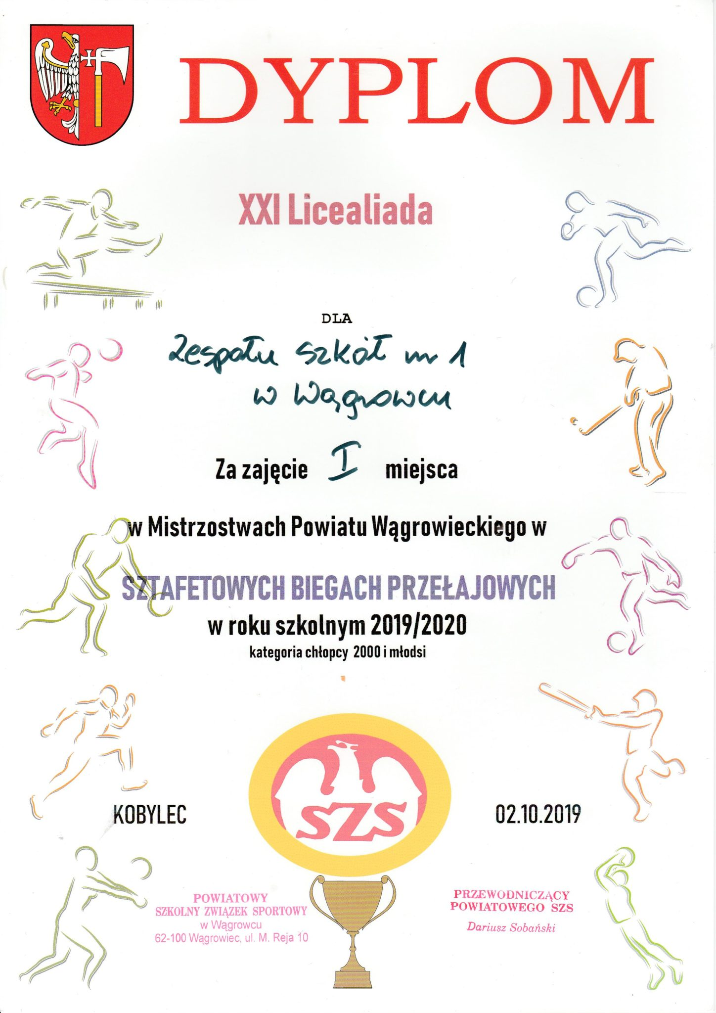 dyplom sztafetowe biegi chłopacy 2019-2020
