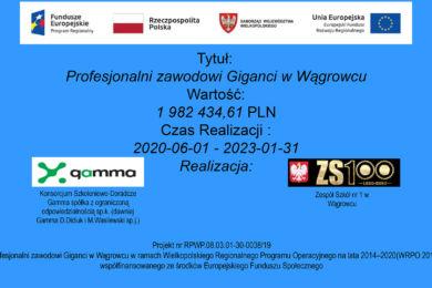Projekt o wartości 1 982 434,61 realizowany w Zespole Szkół nr 1 w Wągrowcu